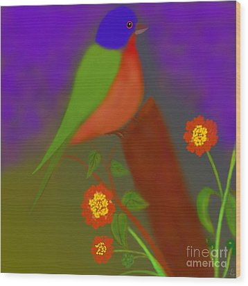 Wood Print featuring the digital art Bird With Lantana Flowers by Latha Gokuldas Panicker