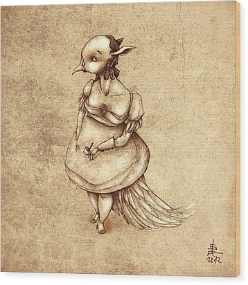Bird Woman Wood Print by Autogiro Illustration
