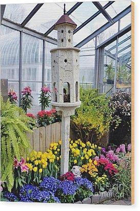 Birdhouse Garden Wood Print by Judy Via-Wolff