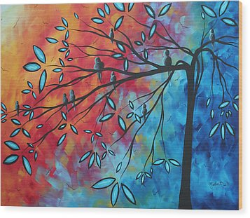 Birds And Blossoms By Madart Wood Print by Megan Duncanson