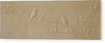 Birds And Cherries Wood Print by Deborah Dendler