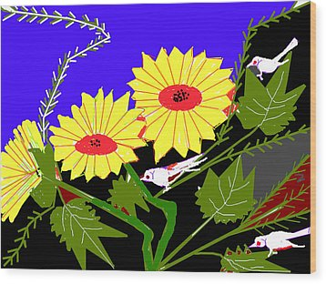 Birds And Leaves Wood Print by Anand Swaroop Manchiraju