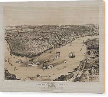 Birds Eye View Of New Orleans 1852 Wood Print by Bill Cannon