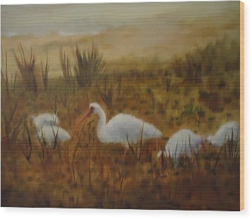 Birds In The Marshes Wood Print by Betty Pimm