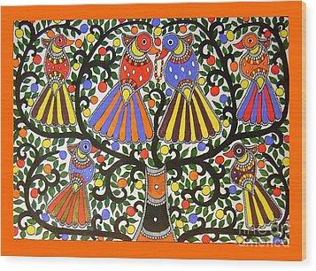 Birds-madhubani Painting Wood Print