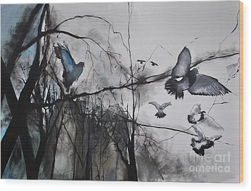 Birds Wood Print by Maja Sokolowska