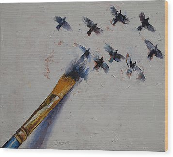 Birds Wood Print by Michael Creese