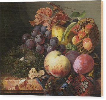 Birds Nest Butterfly And Fruit Basket Wood Print by Edward Ladell