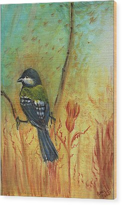 Birds Of A Feather Series3 In Autumn Wood Print by Remy Francis