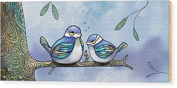 Birds Of Blue Wood Print by Karin Taylor