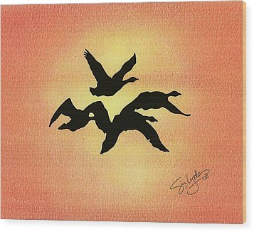 Birds Of Flight Wood Print