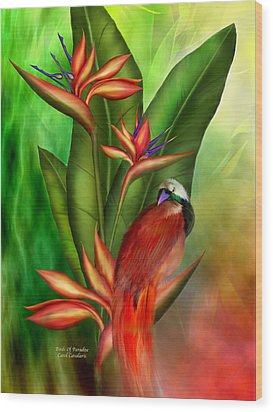 Birds Of Paradise Wood Print by Carol Cavalaris