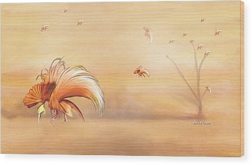 Birds Of Paradise In The Fog Wood Print by Angela A Stanton