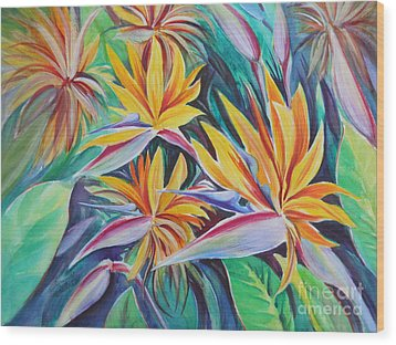 Birds Of Paradise Wood Print by Summer Celeste