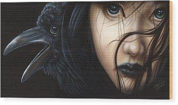 Birds Of Prey- Raven Wood Print