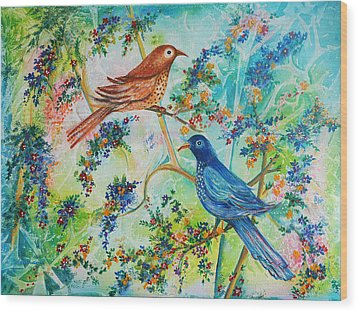 Wood Print featuring the painting Birds Of Spring by Yolanda Rodriguez