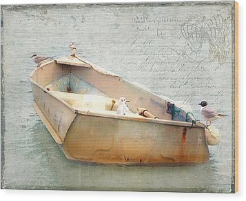 Wood Print featuring the photograph Birds On A Boat In The Basin by Karen Lynch