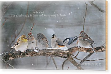 Birds On A Branch Wood Print by Lila Fisher-Wenzel
