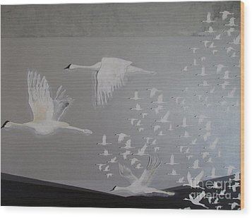 Wood Print featuring the painting Birds On A Silver Sky by Nereida Rodriguez
