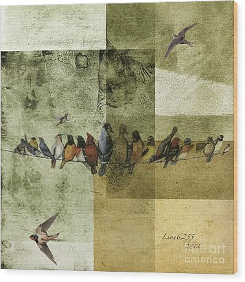 Wood Print featuring the digital art Birds On A Wire by Melissa Messick