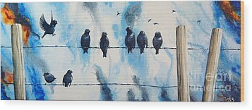 Birds On Barbed Wire Wood Print
