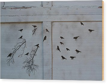 Birds On The Garage Wood Print