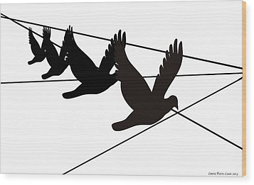 Birds On The Wire Wood Print by Laura Pierre-Louis