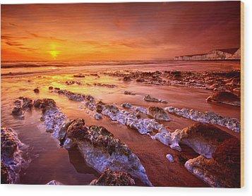 Birling Gap Sunset Wood Print by Mark Leader