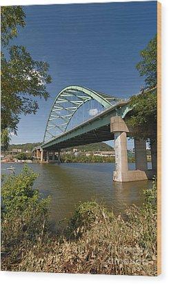 Birmingham Bridge Pittsburgh South Side Wood Print by Amy Cicconi