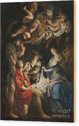 Birth Of Christ Adoration Of The Shepherds Wood Print by Peter Paul Rubens