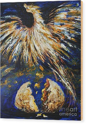 Wood Print featuring the painting Birth Of The Phoenix by Karen  Ferrand Carroll