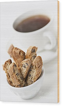 Biscotti And Coffee Wood Print by Elena Elisseeva