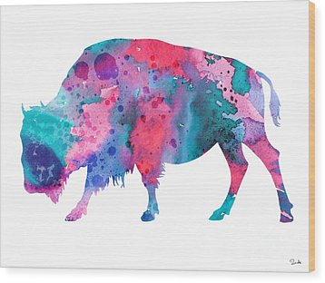Bison 2 Wood Print by Watercolor Girl