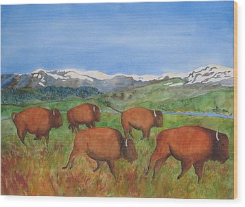 Bison At Yellowstone Wood Print by Patricia Beebe