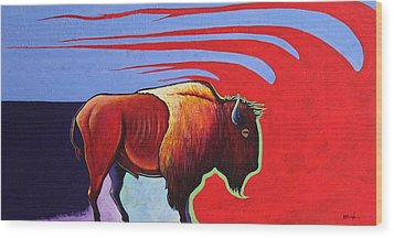 Bison In The Winds Of Change Wood Print by Joe  Triano