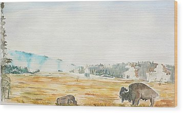 Bison In Yellowstone Wood Print by Geeta Biswas