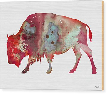 Bison Wood Print by Luke and Slavi