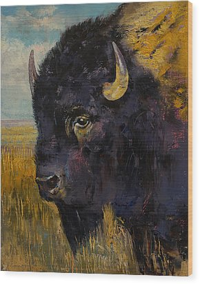 Bison Wood Print by Michael Creese