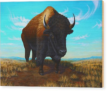 Bison On The Knoll Wood Print by Clay Hibbard