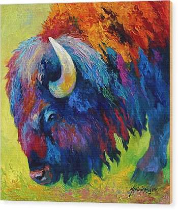Bison Portrait II Wood Print