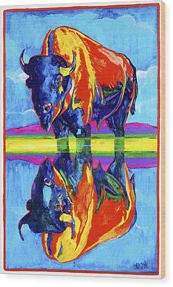 Bison Reflections Wood Print by Derrick Higgins