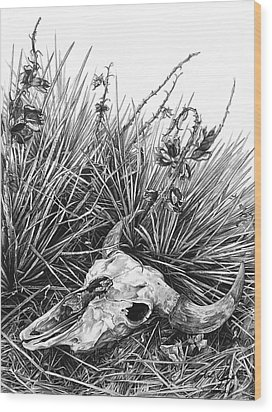 Wood Print featuring the painting Bison Skull by Aaron Spong