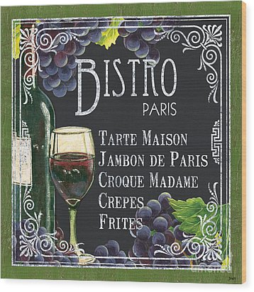Bistro Paris Wood Print by Debbie DeWitt