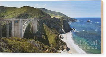 Bixby Bridge Near Big Sur On Highway One In California Wood Print by Artist and Photographer Laura Wrede
