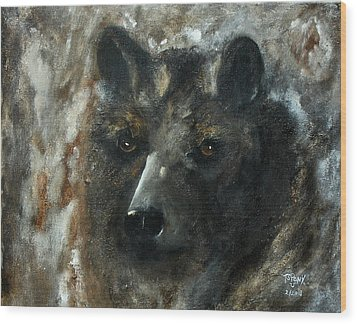Wood Print featuring the painting Bjomolf - Bear Wolf by Barbie Batson