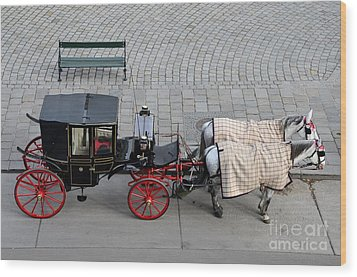 Wood Print featuring the photograph Black And Red Horse Carriage - Vienna Austria  by Imran Ahmed