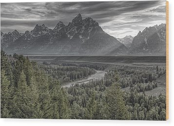 Black And Teton Wood Print