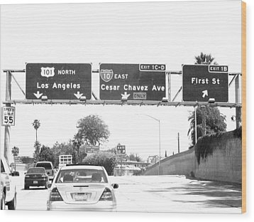 Wood Print featuring the photograph Black And White Abstract City Photography...l.a. Freeway by Amy Giacomelli