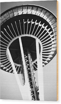 Wood Print featuring the photograph Black And White Abstract City Photography...space Needle by Amy Giacomelli
