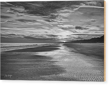Black And White Beach Wood Print by Phill Doherty